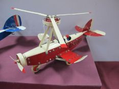 A Meccano Based Gyro-Copter, two pilots, finished in red/white, fully repainted, (except engines),