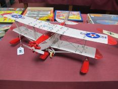 A Meccano Based 'Sea' Bi-Plane, with three floats, finished in cream/red with American insignia, two