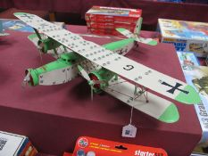 A Large Meccano Based Model of a Tri-Motor Passenger B-Plane, finished in green/cream with German