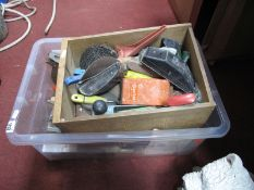 Stanley Plane, clamps, Footprint drill, spirit levels and other tools etc:- Two Boxes