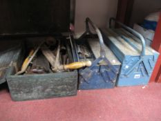 Two Metal Tool Boxes, pliers, clamp, spanners, and a box of tools etc. (3)