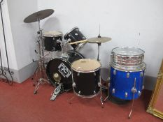 A Session Fusion Triple Drum and Single Drum, Premier D S Head & Evans Drums. Stagg floor cymbals,