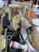 Minolta and Miranda Cameras, dressing table ware, brass carriage, Tiffany style butterfly lamp,