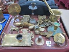 Art Nouveau Brass Pen Tray, with ink pot, pestle and mortar, brass tilt top table, brass walnut