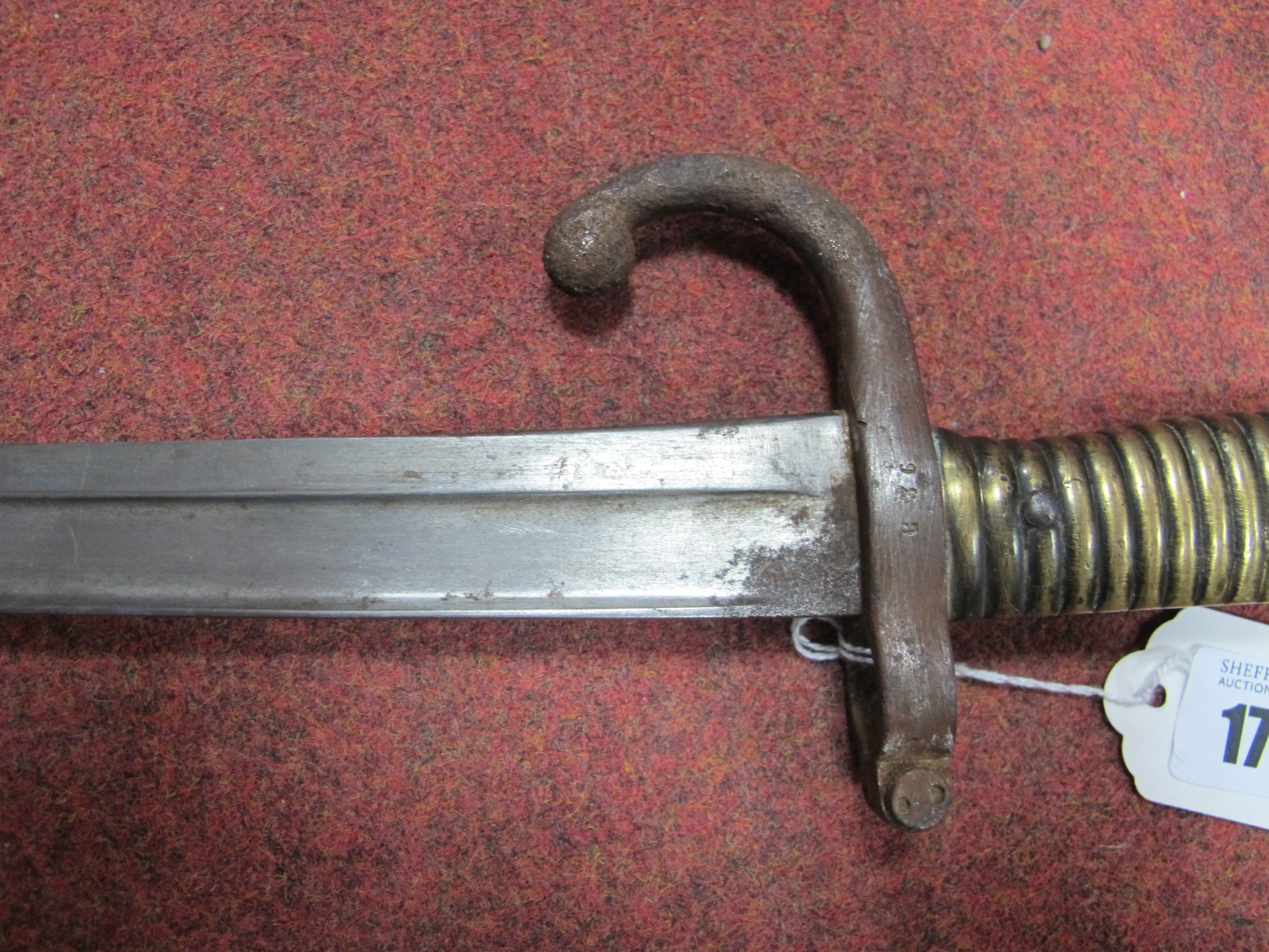 A French XIX Sabre Bayonet, chips, rusting to blade, with metal scabbard. - Image 2 of 7