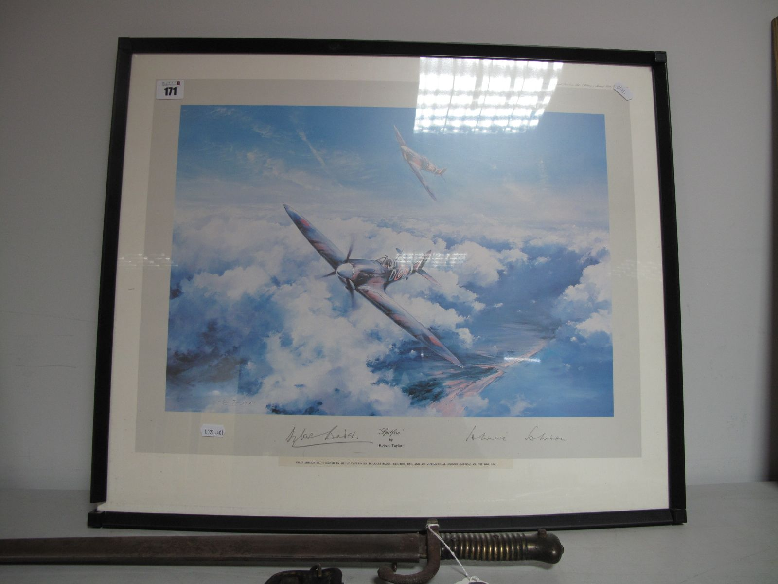 After Robert Taylor - Print Entitled 'Spitfire', graphite signed by Sir Douglas Bader, CBE, DSO, DFC