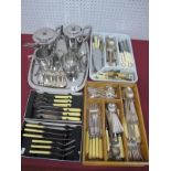 An Old Hall Stainless Steel Four Piece Tea Set, on a tray, together with a plated toast rack and