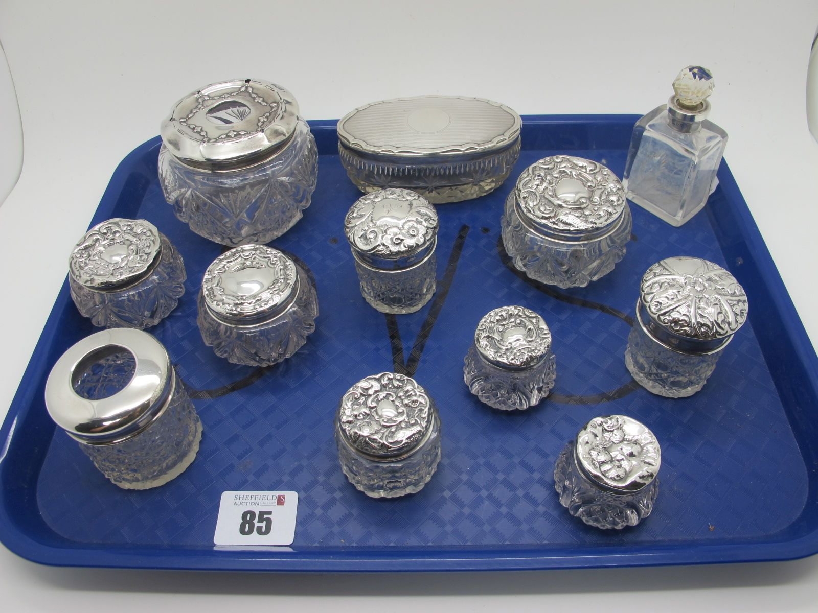 A Collection of Assorted Hallmarked Silver Topped Glass Dressing Trinket Pots / Tidy Jars, (