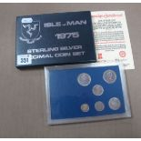 A 1975 Isle of Man Sterling Silver Decimal Coin Set, cased.