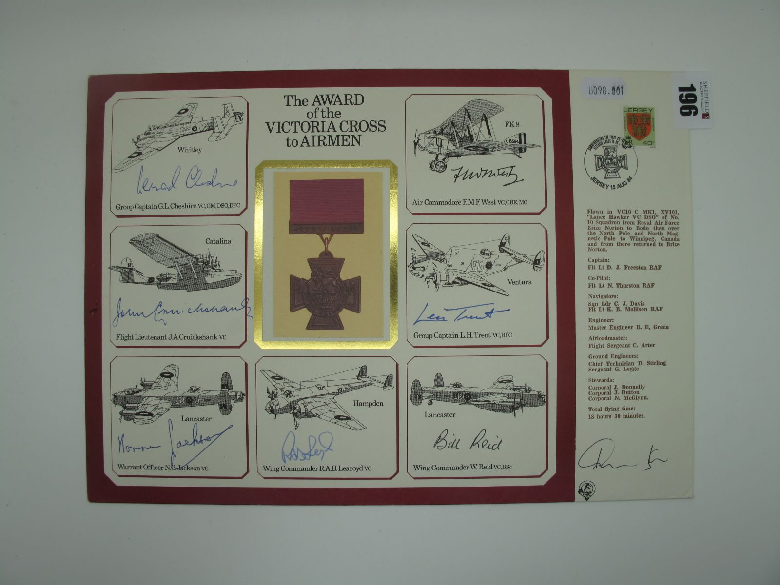A 1980's Flown Cover Bearing the Signatures of Seven WWII Victoria Cross Winners, Group Captain