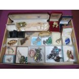 Assorted Costume Jewellery, including Sarah Coventry large pendant, a vintage heart shape locket