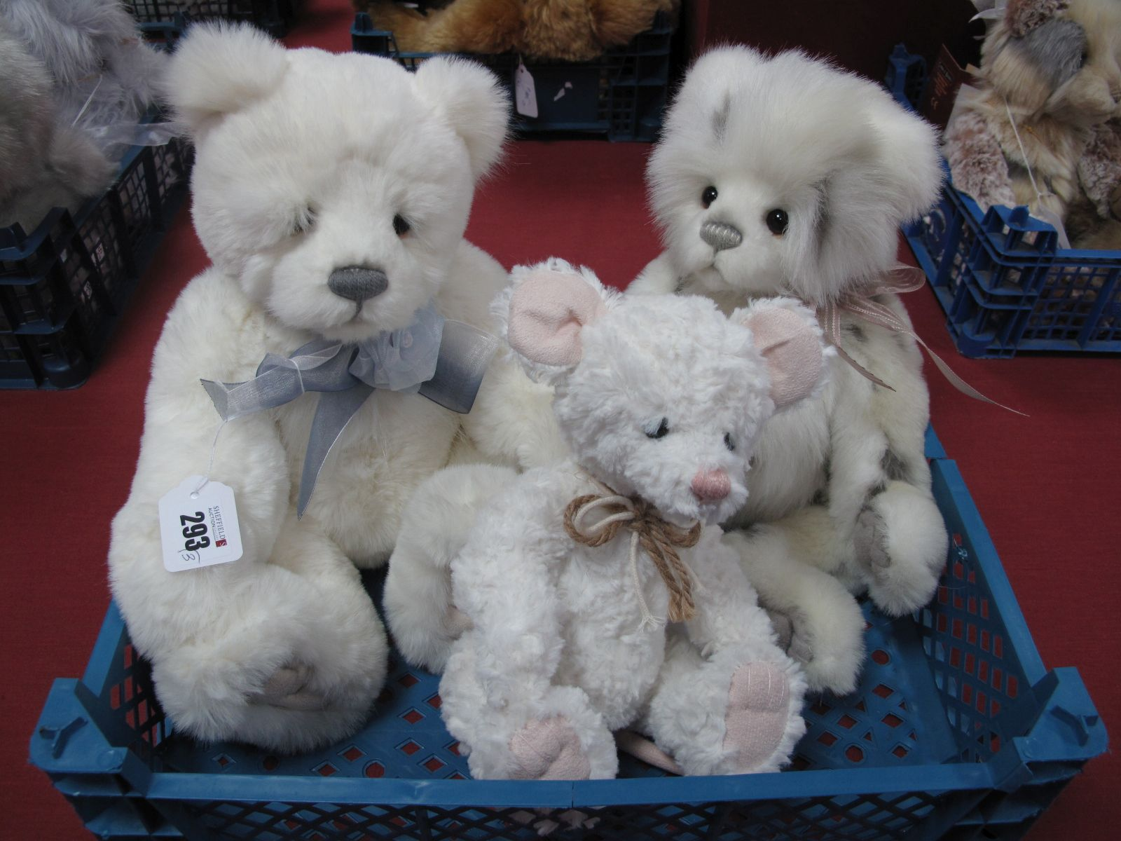 Three Charlie Bears, all unnamed with white fur, 27 -38cm high. (3)