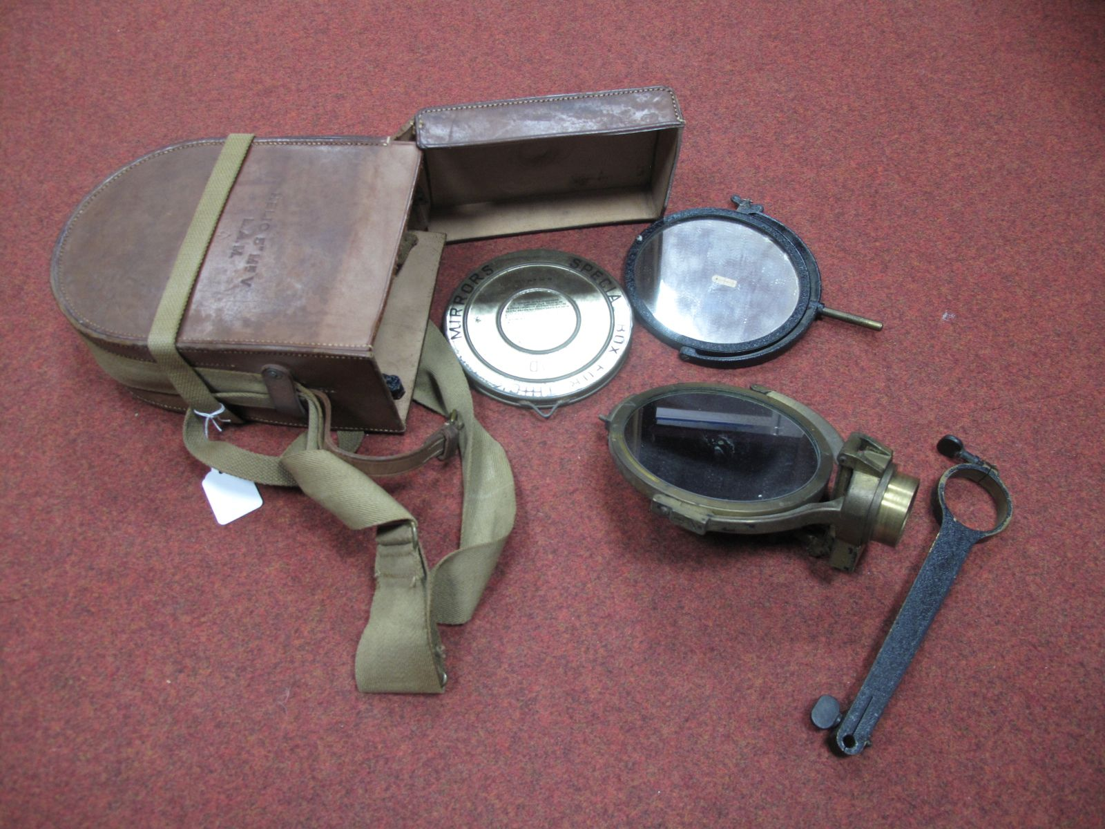 """A Helio 5"""" MKV. L.A.M Heliograph, in original leather case with shoulder strap."""