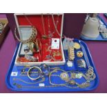 Decorative Necklaces, bangles and other gilt coloured pieces, including a jewellery box:- One Tray.