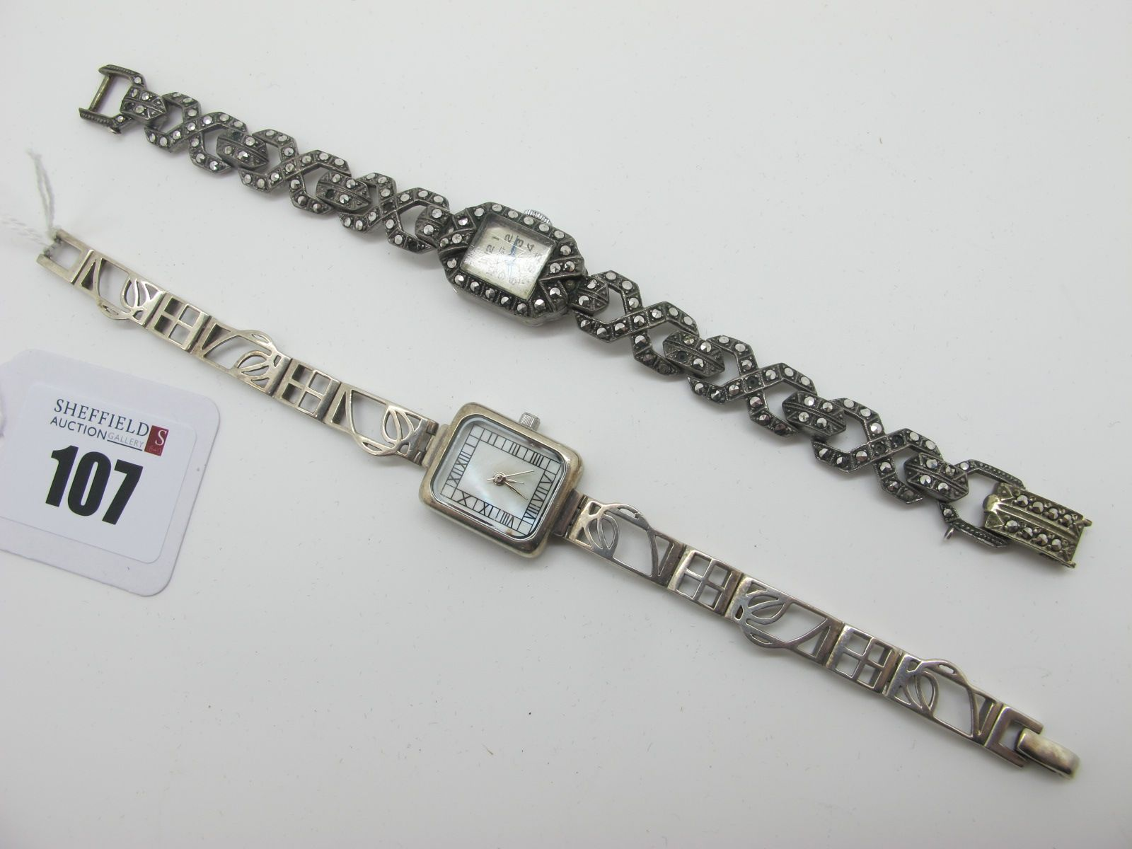 Vidar; A Vintage Marcasite Set Ladies Wristwatch, the signed rectangular dial with Arabic