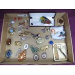 A Collection of Assorted Costume Brooches, including 'London Airport' souvenir bar brooch, butterfly