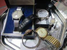 "MuDu Vintage Ladies Wristwatch, the case back stamped ""18K 0.750"", on later expanding bracelet, a"