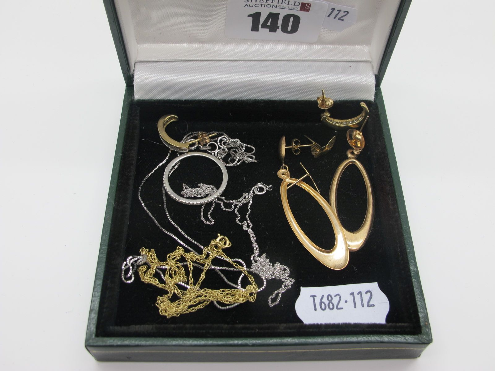 """A Small Collection of """"9ct"""" and """"75"""" Jewellery, including earrings, chains and an inset ring ("""