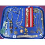 A Mixed Lot of Assorted Costume Jewellery, including gilt coloured pendants and chains, diamante