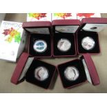 Five Cased 2013/2014 Royal Canadian Mint Fine Silver 10 Dollar Coins, accompanied by literature,