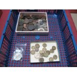 A Large Quantity of Mixed GB and Foreign Coins, includes 1807 early milled Half Penny, 1794 Dublin
