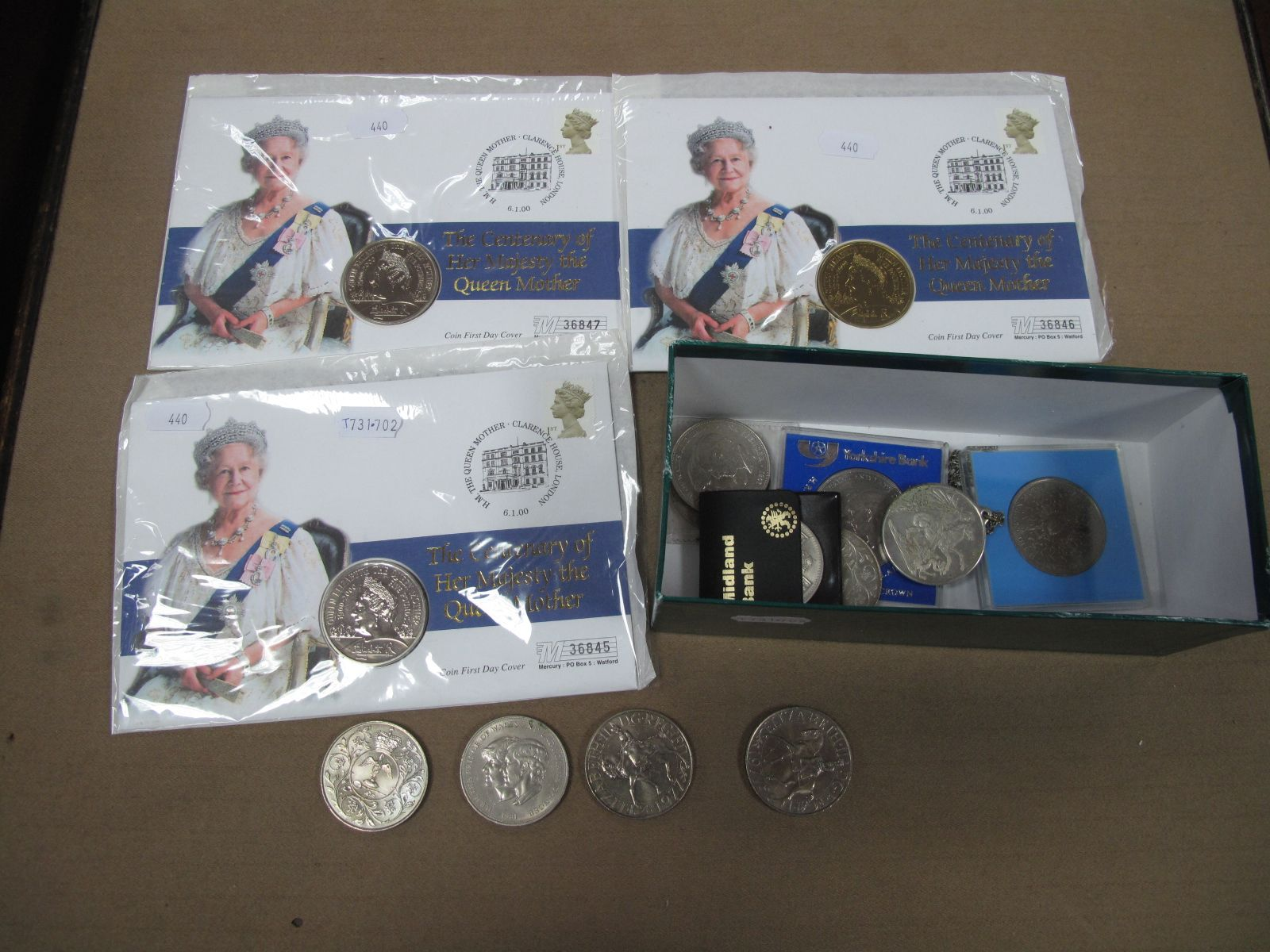 A Collection of Commemorative Crowns, together with three centenary Queen Mother Five Pounds coin