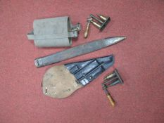 A Mid XX Century Holster for a Lugar, Swedish Army, Police origin, a WWII British water bottle,