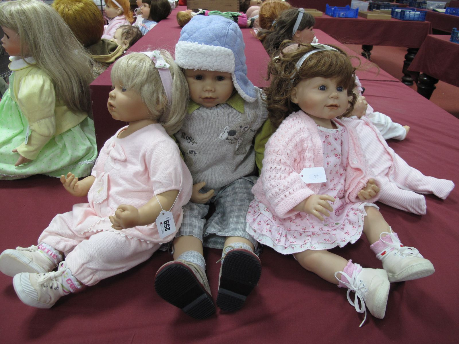 A W. Hanl Doll, marked 22K, 74cm high, two others No 986, 56cm high and No 927, 54cm high both