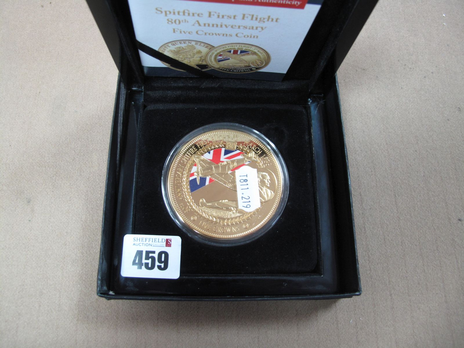 The Bradford Exchange 2016 Spitfire First Flight 80th Anniversary Commemorative Five Crowns Coin,