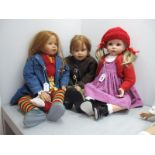 Three Toddler Girl Dolls, marked indistinctly, No. 542, 70cm high, another No. 303, 70cm high and