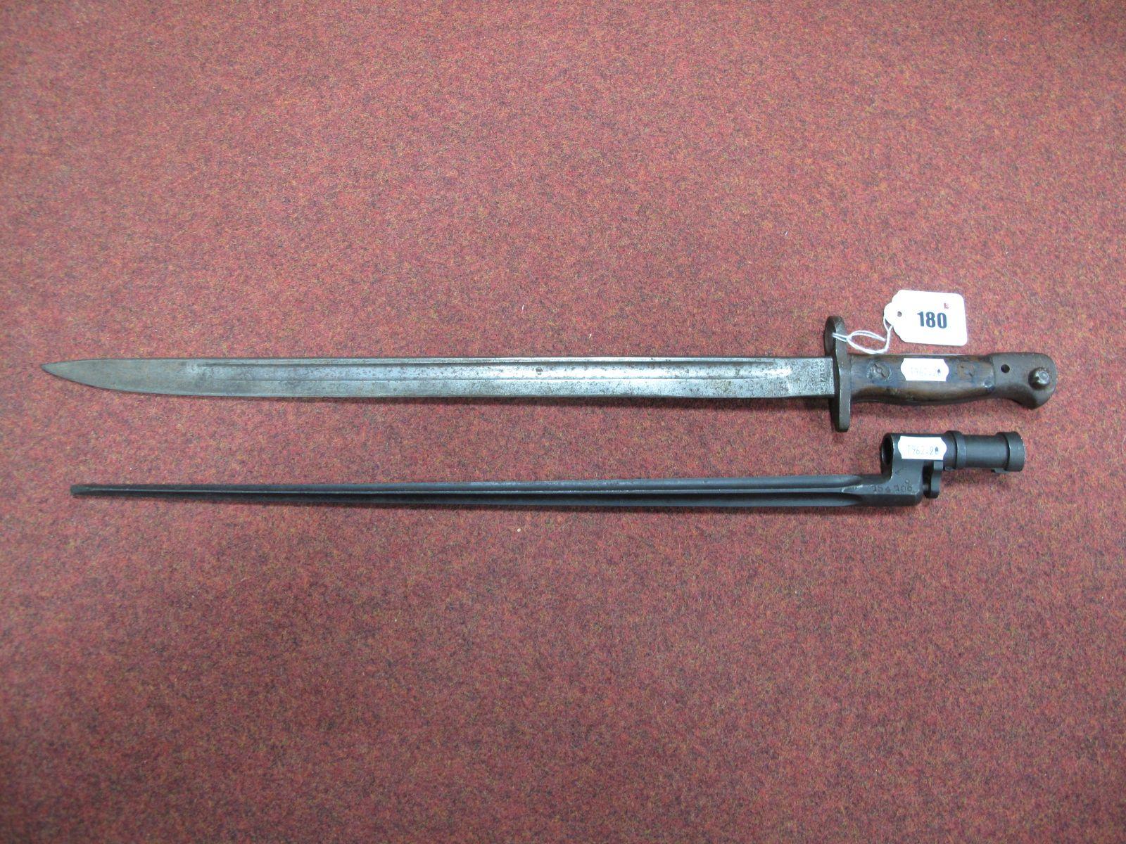 A British 1907 Pattern Bayonet, poor condition and a XIX Century crucifix blade bayonet.
