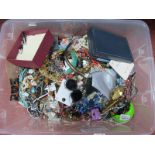 A Large Box of Assorted Costume Jewellery, including bead necklaces, bangles, bracelets, hair