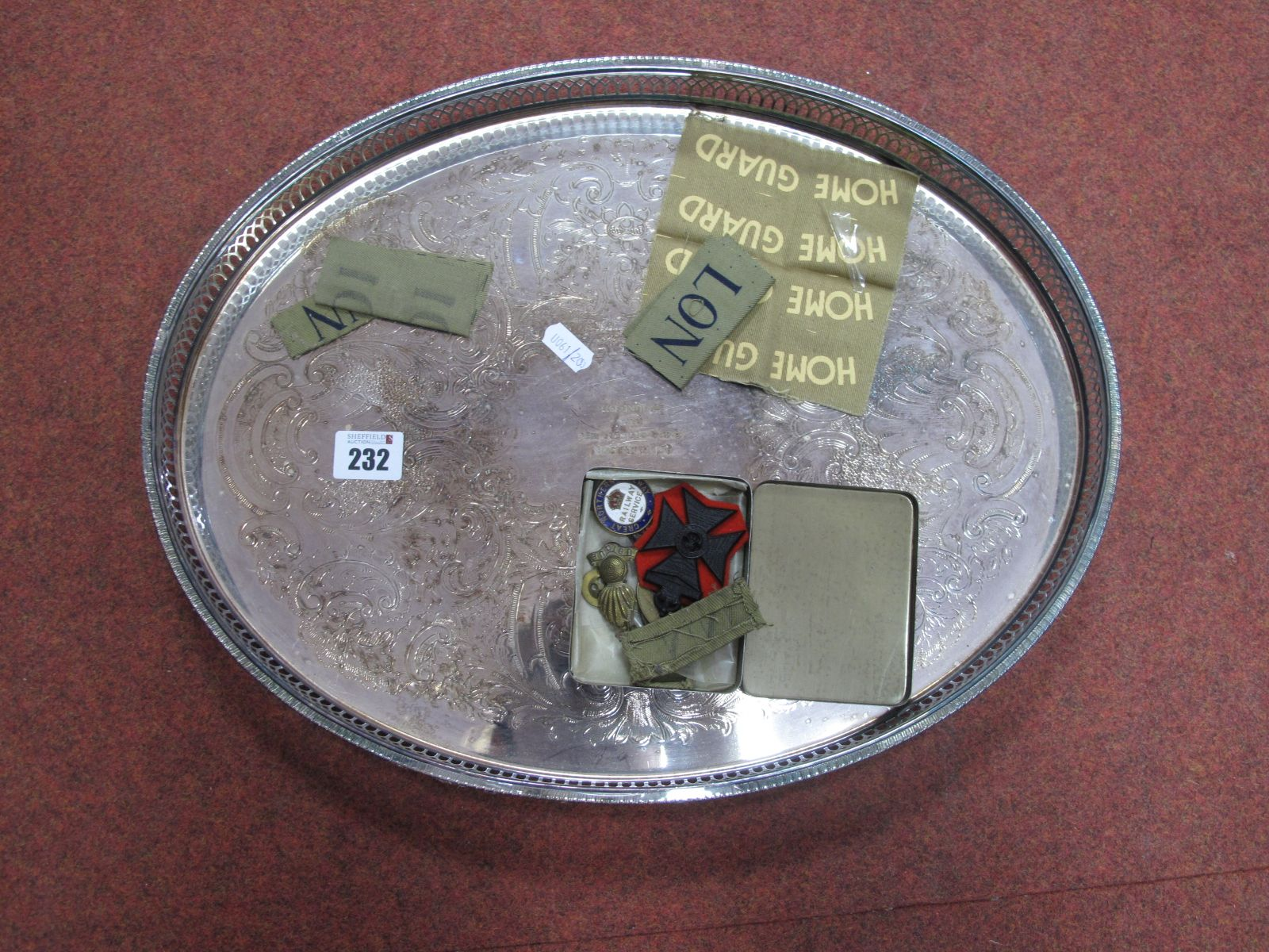 A Plated Tray, stamped 'A.I Emerson, Senior Officers Mess, York, 27 June 1977, four uncut Home Guard