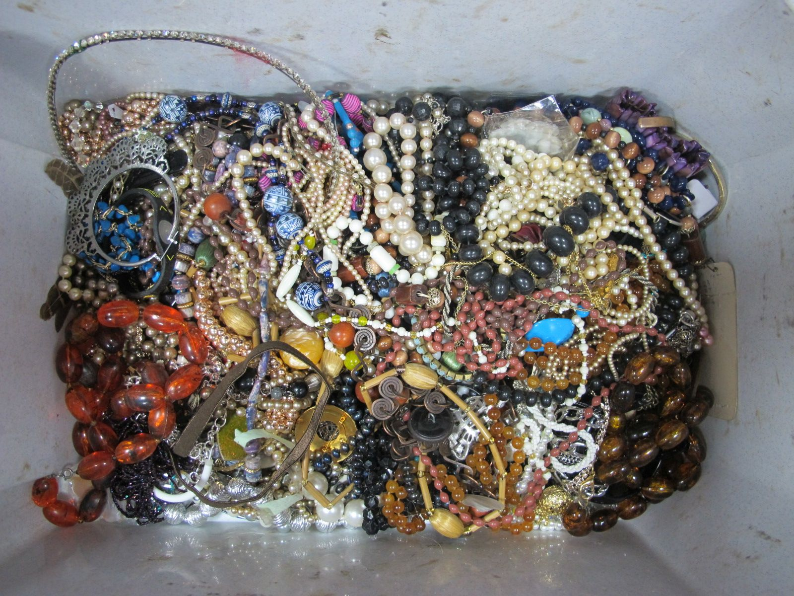 A Large Mixed Lot of Assorted Costume Jewellery, including bead necklaces, etc :- One Box