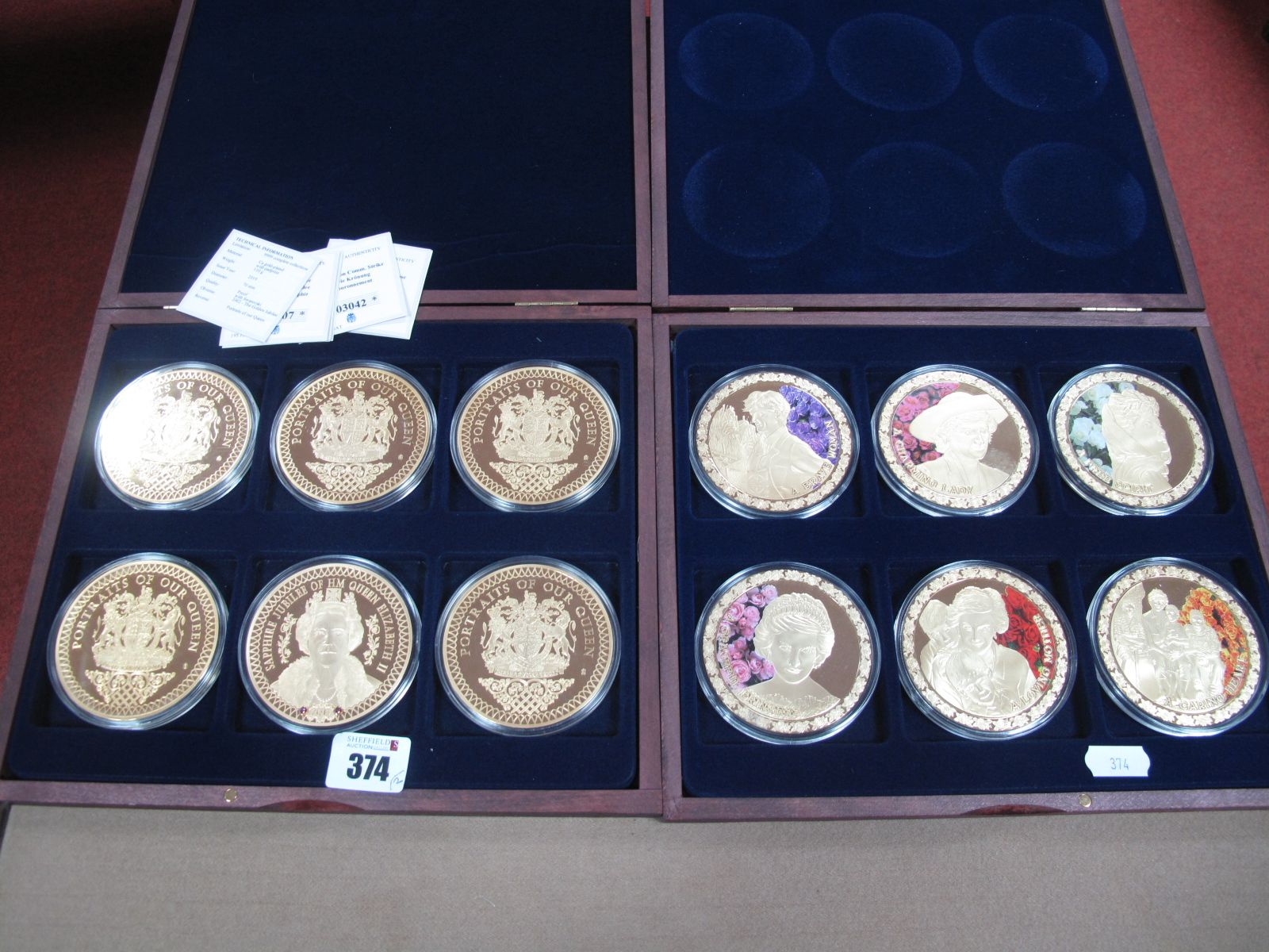2019 Portraits of our Queen Gold Plated Six Coin Set, together with a Diana Spencer Colours of an