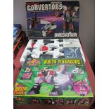 Power Rangers: boxed white Tigerzoyd, along with boxed Convertors, Omegatron, (unchecked for