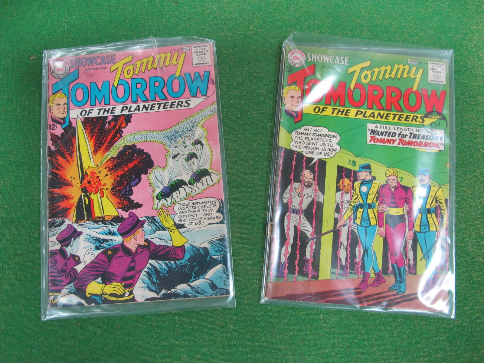 DC Showcase - Tommy Tomorrow 12C, 9d stamp, issues #44 and #47, both well used, well read