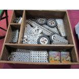A Quantity of Nickell Meccano Parts, to include dredger buckets, buffers, etc (held in a wooden work