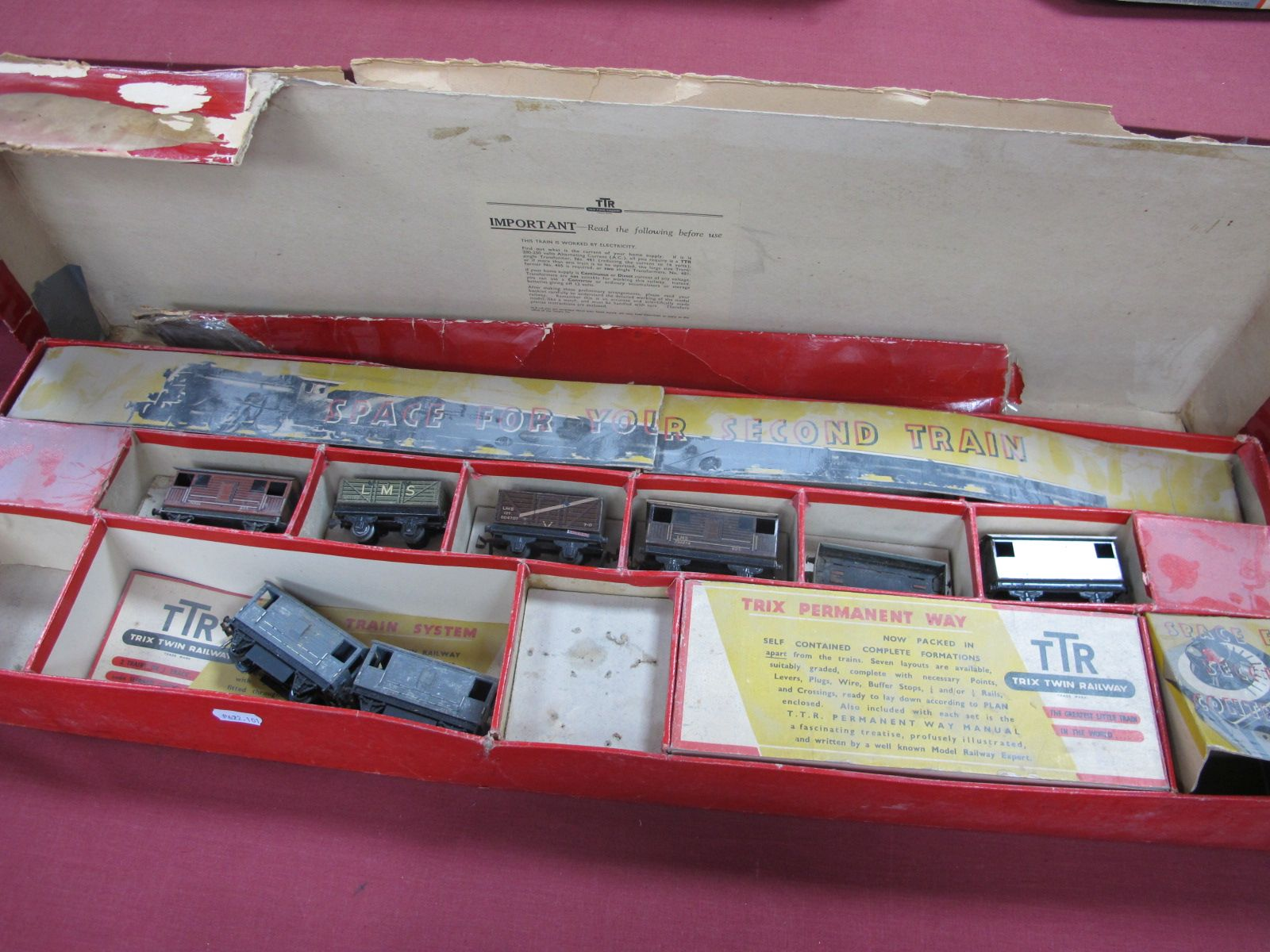 A Trix T.T.R Railway Set Ref 2/324 Goods Train Box, fair base with inserts, poor lid, contains eight