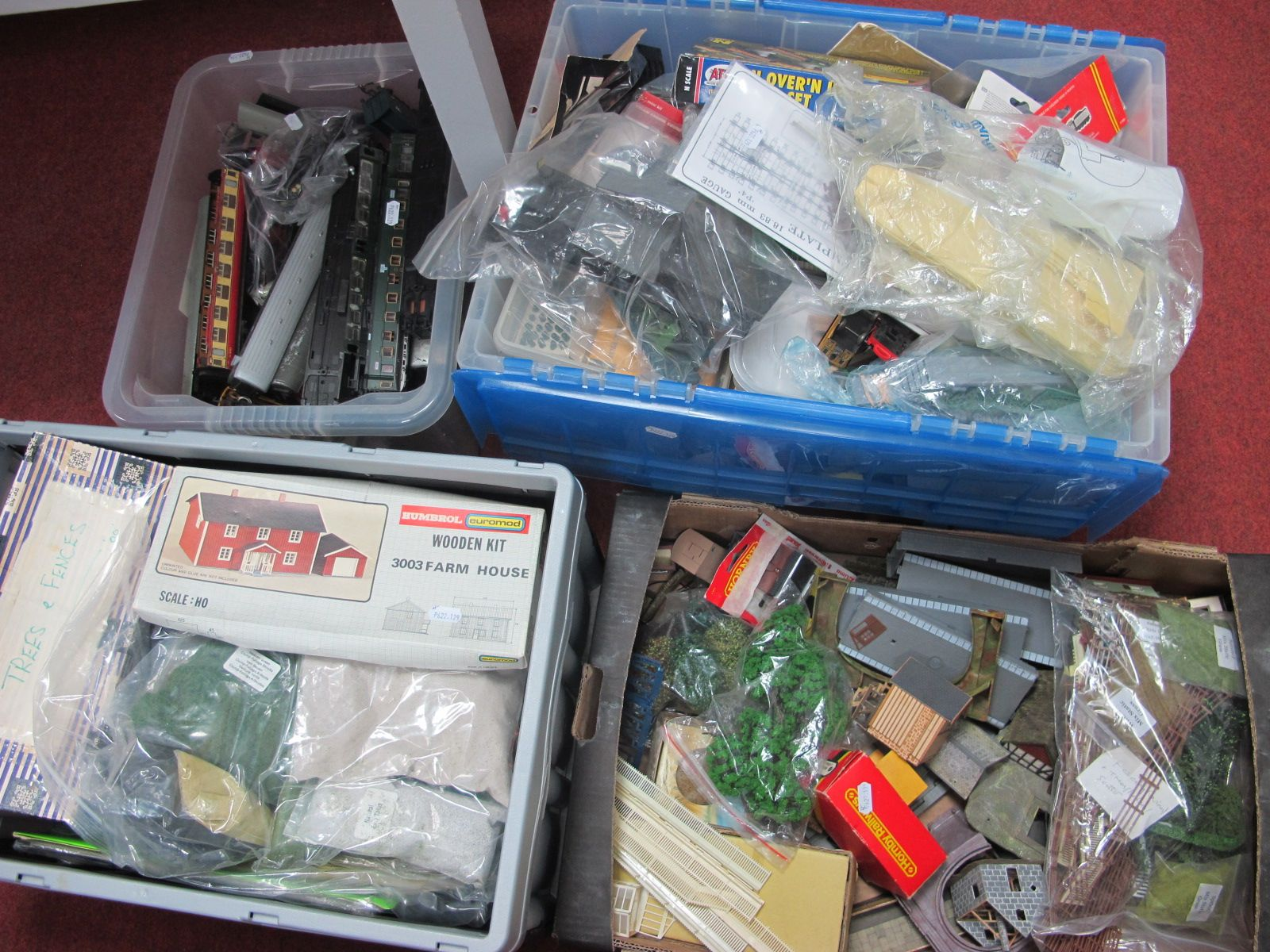 Four Box's of The 'Contents of a Railway Modelers' Workshop, two boxes trackside kits, buildings,