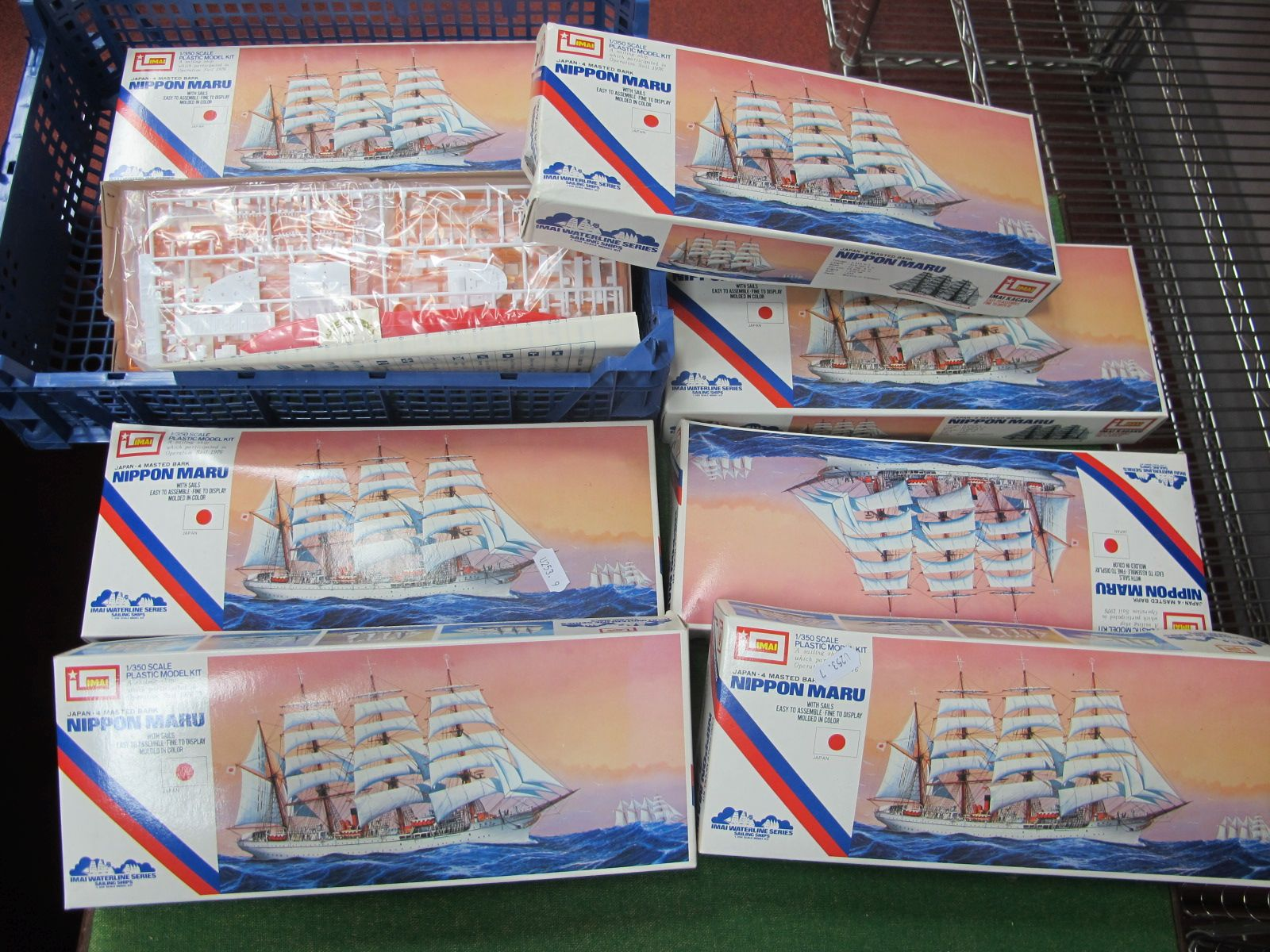 Seven 1/350th Scale Plastic Model Kits by Imai, all of the Nippon Maru, (appear unstarted but