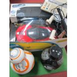 Plustron TVG 2000 CP Console, along with two Star Wars Robots BB, plus two radio controlled cars:-