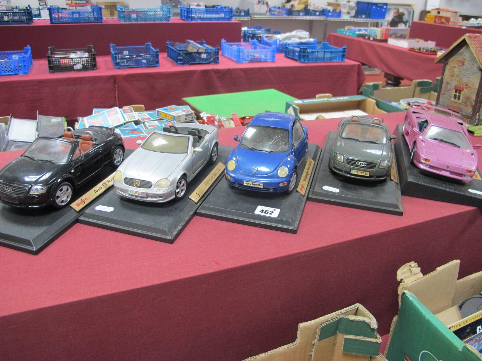 Maisto - Five Late 1990/Early 2000's Model Vehicles, on plinths, to include Lamborghini Diablo, Audi