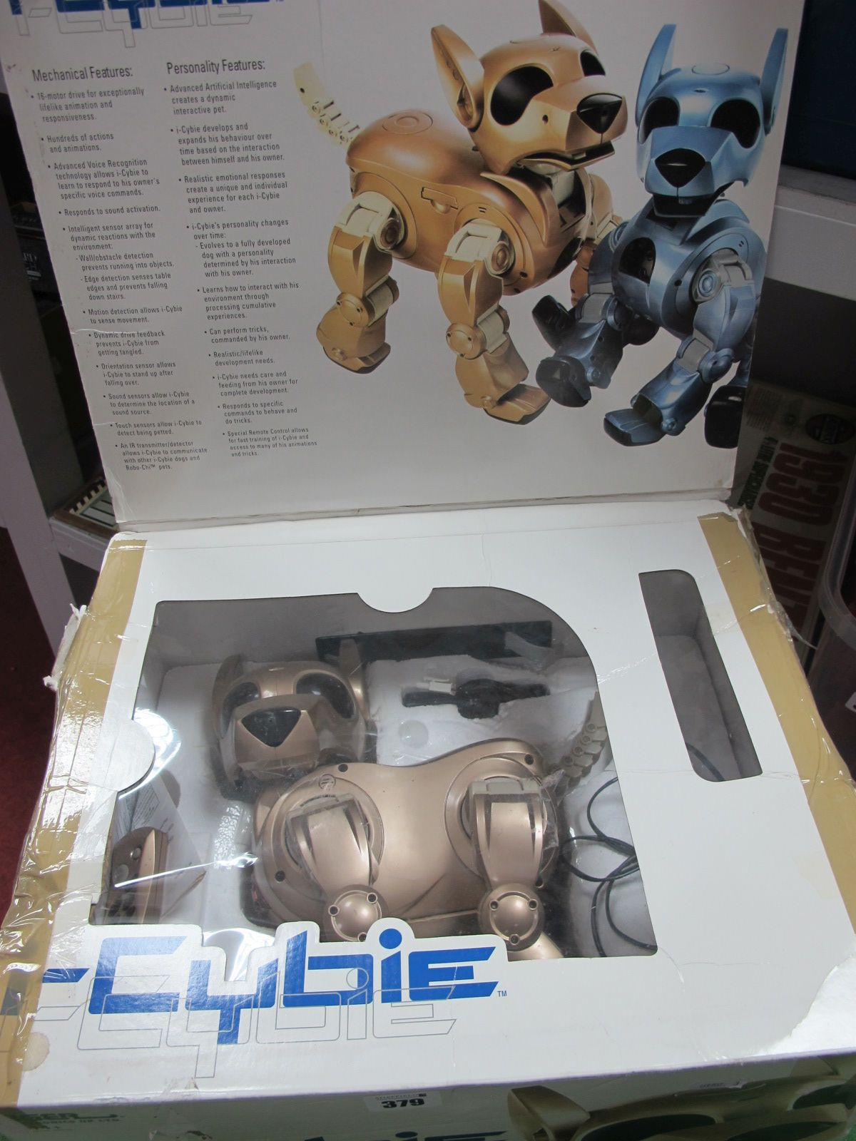 I-Cybie Robot Dog, remote present, but playworn, boxed.