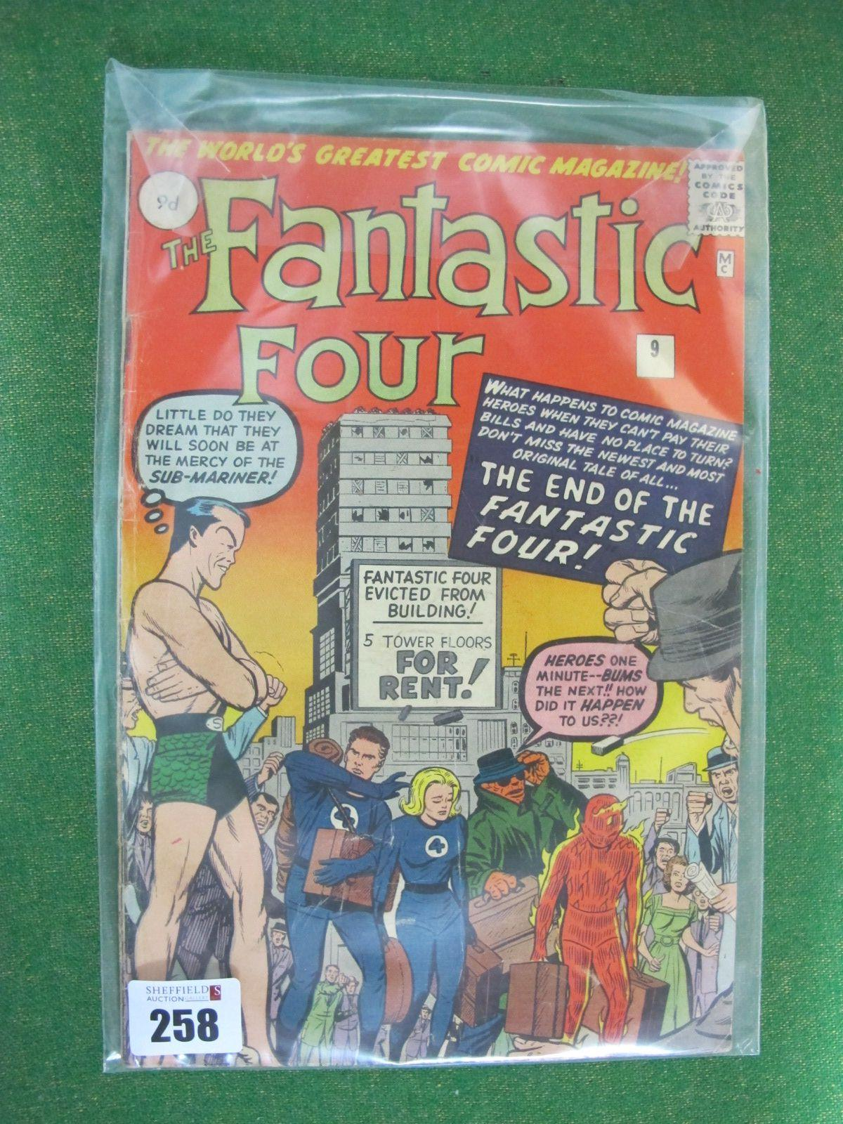 The Fantastic Four #9/No.9, 9d, in used well read condition.