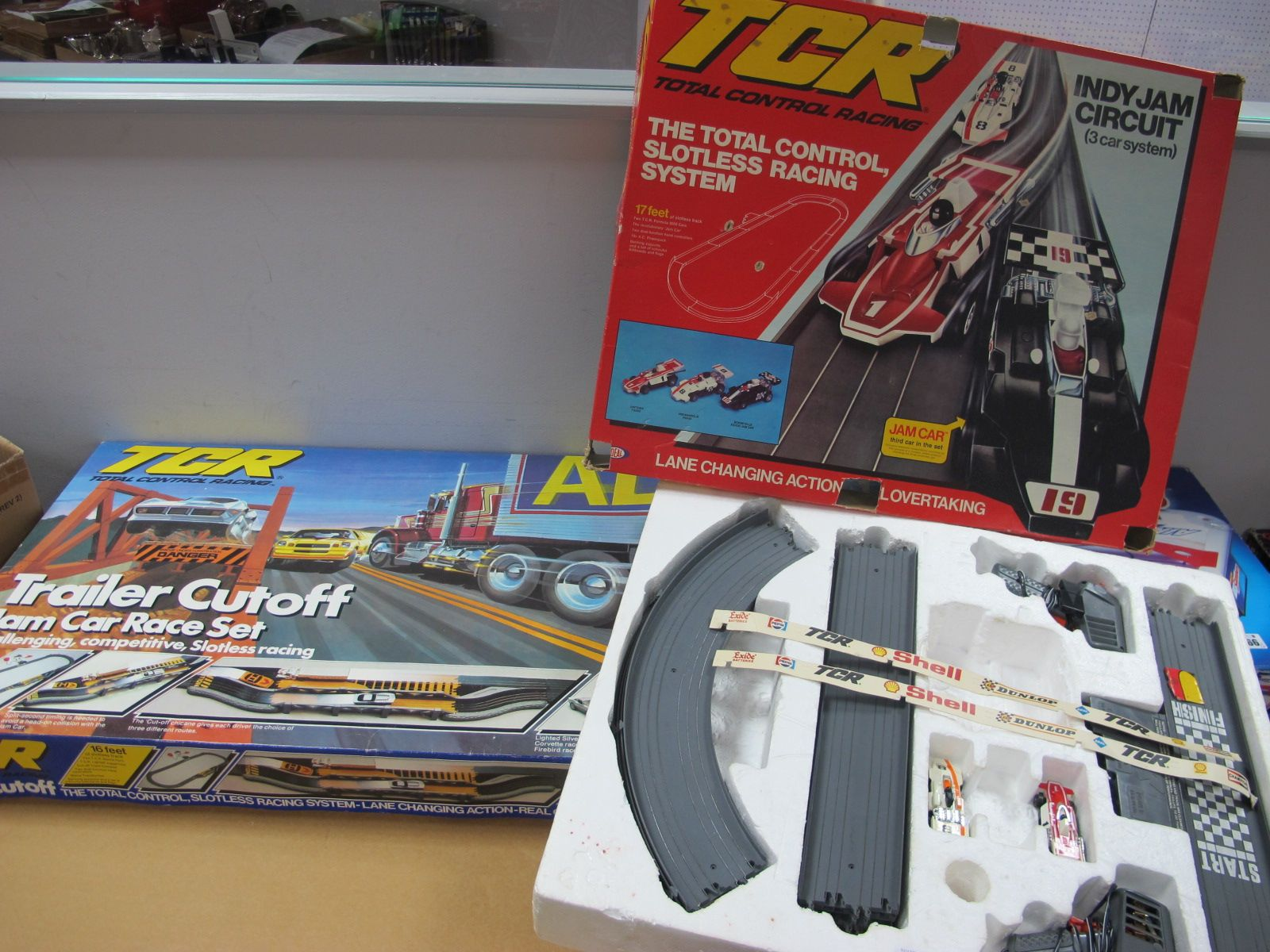 Total Control Racing - Indy Jam Circuit and Trailer Jam Car Race Set, both boxed, but only two