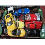 A Large Quantity of Barago Model Vehicles, to include white Triumph Stag, Porsche Boxster, Bugatti