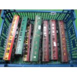 Ten 'OO' Gauge/4mm Unboxed Coaches by Hornby, Train and Bachmann, BR maroon, Southern etc; two B/