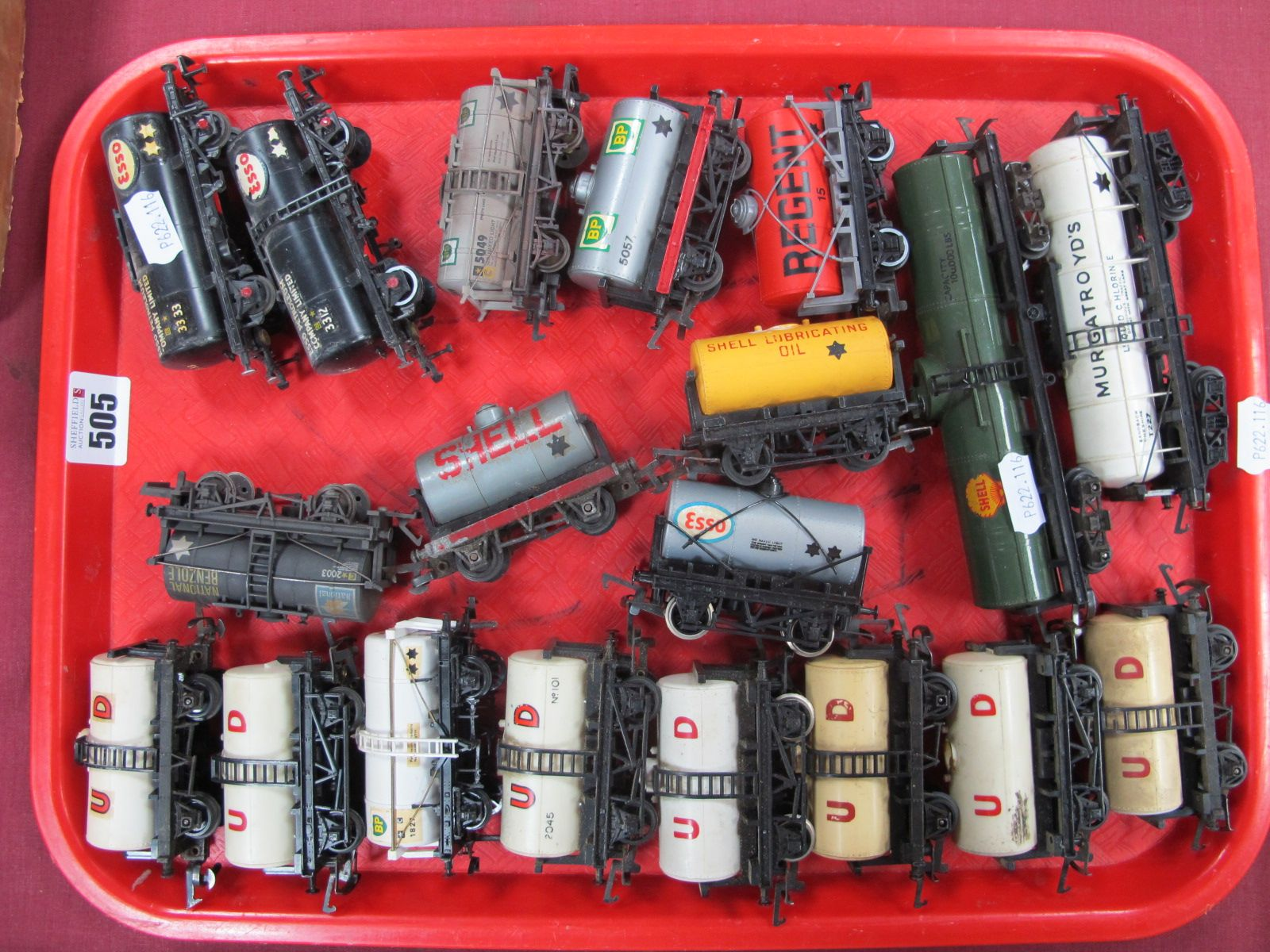 Nineteen Unboxed 'OO' Gauge/4mm Tank Wagons by Various Makers, two eight wheel bogie examples noted,