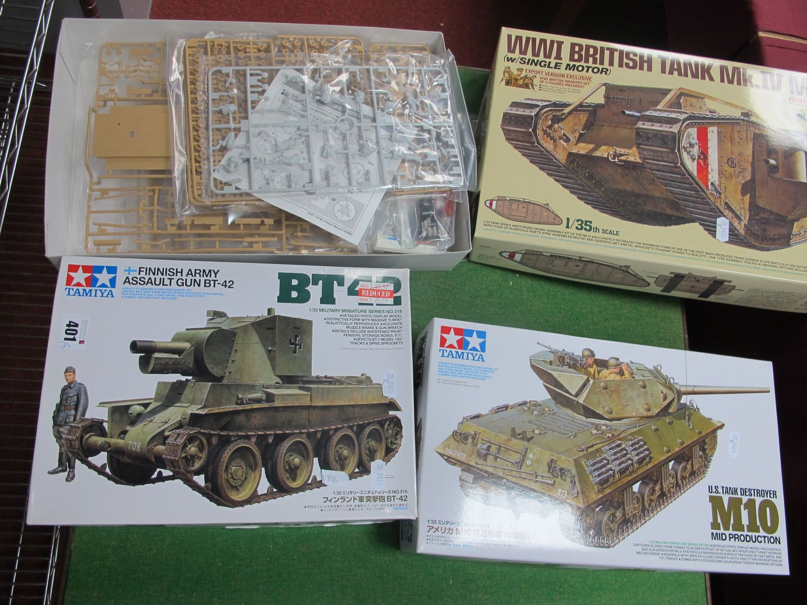 Three 1/35th Scale, to include Finnish Army Assault Gun BT-42, US Tank Destroyer M10 and WWI British